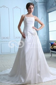 A-line Taffeta Zipper Spaghetti-Straps Floor-length Chapel Ivory Natural Train Ruched/Beading/Embroidery/Sequins Romantic Sleeveless Wedding Dress