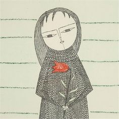 Keiko Minami   -  Girl with a Flower  etching