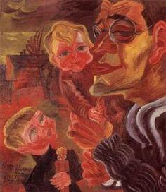 Conrad Felixmüller - Selbstbildnis mit meinen Söhnen, 1921