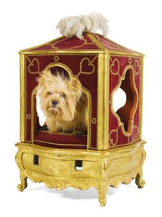 A rare giltwood and gesso dog`s sedan chair Louis XV, circa 1765 of pagoda form, the arched top with ostrich feather plumes, covered with red velvet with brass studs, the interior with a red velvet cushion, on a giltwood base ornamented with dog motifs, on cabriole legs, (decoration refreshed and dog not for sale!) | Sotheby's