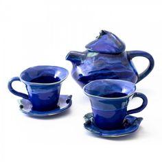 Komplet 2 filiżanek na herbatę z serii Morski i małego imbryka1L (proj. ArtMika), do kupienia w DecoBazaar.com