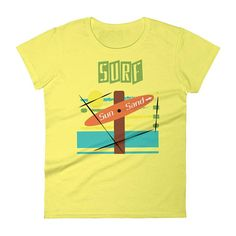 Surf Sun and Sand Beach Shirt Sunset T-shirt Surfer Girl