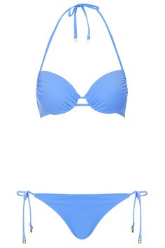 9892053481 Blue Plunge Bikini Top and Tie-Side Pants Plunge Bikini
