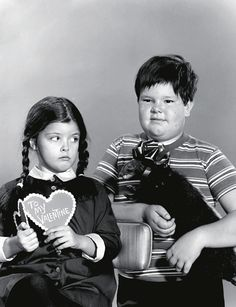 """Lisa Loring and Ken Weatherwax as Wednesday and Pugsley Addams in the TV series """"The Addams Family"""""""