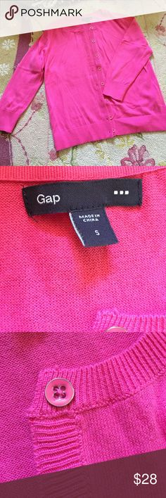 💞Almost NEW Gap cardigan💞 Possibly never worn. Perfect condition! Bright pink with cute pink buttons. 100% cotton, perfect to wear over summer dresses😍☀️😍☀️😍 Sleeves are not full length. GAP Sweaters Cardigans