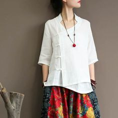 Mens Linen Outfits, Shirt Blouses, Shirts, Wide Leg Linen Pants, Summer Blouses, Chinese Style, Stylish Dresses, Half Sleeves, Elegant