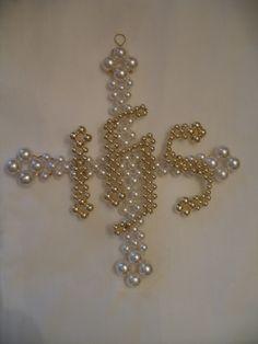 Iota Eta Sigma (IHS) on Greek Cross - Pattern from Chrismons Basic Series, Ascension Lutheran Church, Danville VA