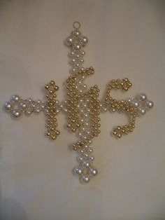 Iota Eta Sigma (IHS) on Greek Cross - Pattern from Chrismons Basic Series, Ascension Lutheran Church, Danville VA