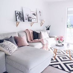 rose gold and grey living room