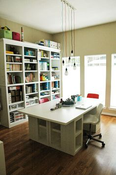 23 Craft Studios Youll Be Totally Jealous Of - scraproom craft room office studio art work space Craft Room Storage, Room Organization, Craft Rooms, Craft Room Tables, Ikea Craft Room, Paper Storage, Table Storage, Space Crafts, Home Crafts