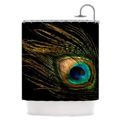 Kess InHouse Peacock Feather Peacock Black Shower Curtains - AC1013ASC01