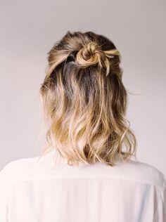 Half up wedding hairstyle with a bun #short #weddinghair