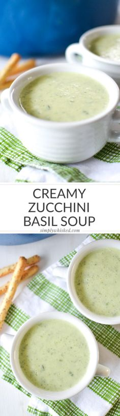 Creamy Zucchini Basil Soup | Gilmore Girls Food | @simplywhisked