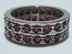 VINTAGE ESTATE STERLING SILVER TWO ROW RUBY OR SAPPHIRE ETERNITY RING BAND SZ6.5