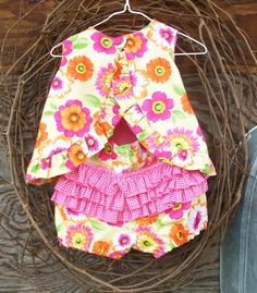 Baby Dress With Ruffled Bloomers, 12 Months, Reversible on Luulla