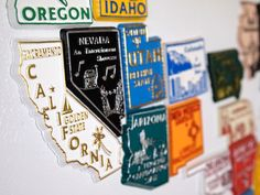 Tiny and perfect if you're traveling light, pick up magnets during your travels and then assemble your own map back home for all to see.
