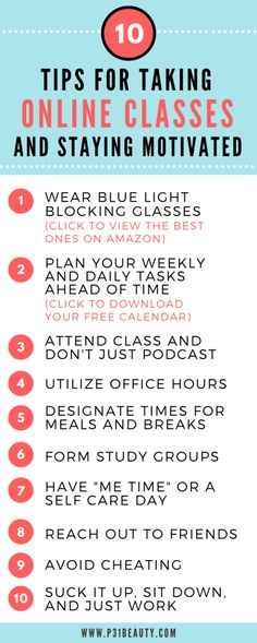 10 Super Helpful Tips for Taking Online Classes and Staying Motivated Online School Supplies, Online College Classes, Online High School, Life Hacks For School, Back To School Hacks, School Study Tips, School Tips, School Notes, College Motivation
