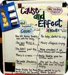 Cause and Effect with Amelia Bedelia. I did one of these during my student teaching, Amelia bedelia works GREAT for cause/effect. Reading Lessons, Reading Strategies, Reading Skills, Teaching Reading, Reading Activities, Teaching Ideas, Learning, Reading Resources, Guided Reading