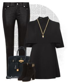 """Black is the new black"" by budding-designer ❤ liked on Polyvore featuring Yves Saint Laurent, Hermès, Valentino, Salvatore Ferragamo, Joomi Lim and highend"