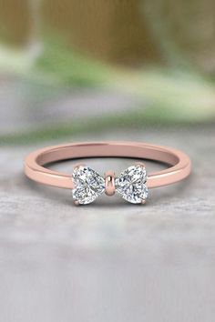 Heart Shaped Bow Anniversary Gifts with Diamonds in Rose Gold exclusively. - Future - 2 Heart Shaped Bow Anniversary Gifts with Diamonds in Rose Gold exclusively. Cute Rings, Pretty Rings, Beautiful Rings, Bow Rings, Unique Rings, Simple Rings, Simple Rose, Beautiful Ladies, Cute Jewelry