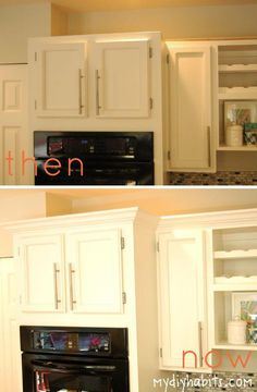 Drama to Kitchen Cabinets -Adding Instant Drama to Kitchen Cabinets - DIY Kitchen Remodel Ideas The easy way to attach crown molding to wall cabinets that don't reach the ceiling! I wish all crown molding was this easy to install when decorating a home. Espresso Kitchen Cabinets, Diy Kitchen Cabinets, Painting Kitchen Cabinets, Kitchen Remodeling, Kitchen Cupboard, Remodeling Ideas, Wall Cabinets, Kitchen Counters, Cupboards