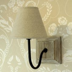 Beige Linen Cottage Wall Lamp