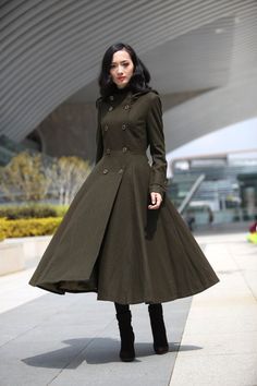 Army Green Coat Big Sweep Double breasted Hoodie Wool Coat Winter Coat Long Jacket Tunic / Fast Shipping - NC500 on Etsy,