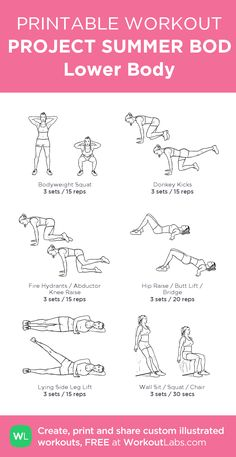 PROJECT SUMMER BOD Lower Body: my visual workout created at WorkoutLabs.com • Click through to customize and download as a FREE PDF! #customworkout