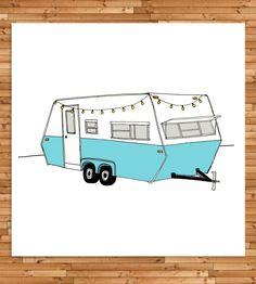 Turqouise RV Camper Print | Art Print
