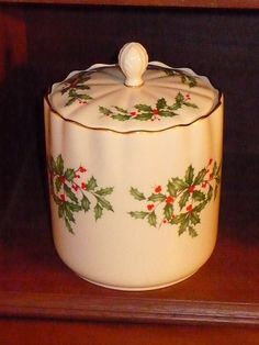 Holiday Biscuit Barrel Lenox  Slowly replacing all my bedroom cookie canisters with Lenox holiday cookie jars, I like us to be reminded of Christmas all year long.