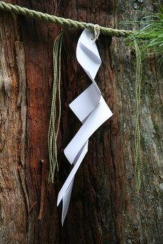 Gohei at Nikko, Japan: Gohei are wooden wands, decorated with two shide (zigzagging paper streamers) used in Shinto rituals in Japan.