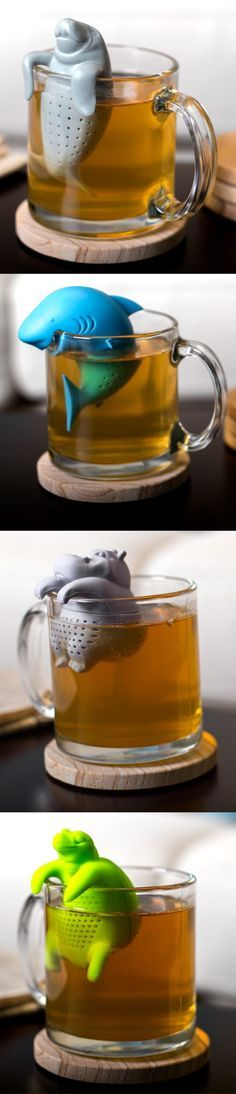 Enjoy a cup of fresh brewed tea with your favorite water-loving creature! Each silicone swimmer perches on the side of your mug, adding a playful yet serene touch to your tea time ritual.