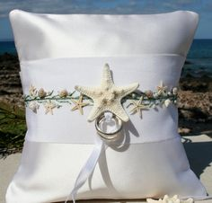Star Fish Wedding Ring Pillow by SHELSEASTUDIO on Etsy, $95.00
