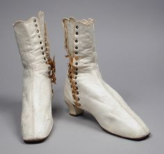 Pair of Woman's Ankle Boots (Wedding) United States, Ohio, Dayton, 1860s Costumes; Accessories Kid leather, sueded leather
