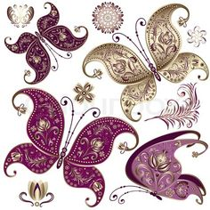 vintage flower tattoo designs | ... vector of 'Set purple and gold vintage butterflies and flowers vector
