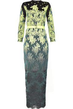 ALESSANDRA RICH  Dégradé lace-covered cotton and silk-blend gown