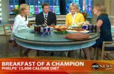 Desayuno de Michael Phelps antes de JJ.OO de Beijing 2008. 12 mil kilocalorías diarias el nene