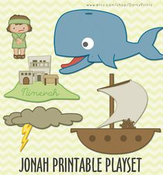 Jonah and the Whale Printable PDF -  bible printables - scripture printable - Instant Download on Etsy, $3.99