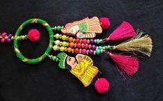 Hand- carved Wooden Raja Rani Tassel, Indian King n Queen with Silk Tassels, Ethnic Tassel, Ring Tassel, Indian Tassel - 1 pc Pink