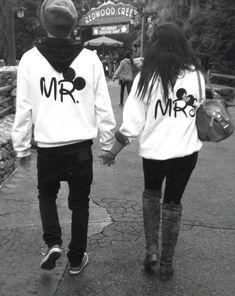 Mr And Mrs Disney Sweatshirts. Cute for a disney honeymoon:) haha! Disney Logo, Walt Disney, Disney Theme, Disney Style, Disney Parks, Disney 2017, Disney Mickey, Disney Sweatshirts, Disney Sweaters