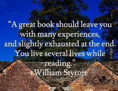 Image result for william styron a great book should leave you