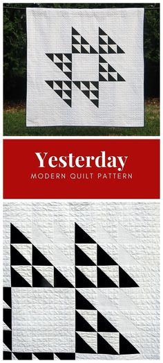 """Yesterday by Cheryl of Meadow Mist Designs by is a modern interpretation of a classic quilt block dating back to the late 1800's, the """"Double Hour Glass"""" block. The pattern contains instructions for a lap sized quilt. #YesterdayQuilt #meadowmistdesigns #modernquilt Modern Quilting Designs, Modern Quilt Patterns, Traditional Quilt Patterns, Neutral Quilt, Black And White Quilts, Half Square Triangle Quilts, Man Quilt, Contemporary Quilts, Quilting For Beginners"""