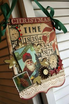 Vintage style Christmas Bingo card TIME SANTA CLOCKS sign plaque decoration