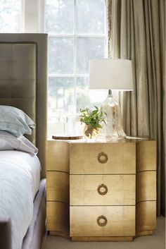 Bernhardt | Jet Set Chest, fine maple veneers, gold leaf finish, chain link bracelet pulls (love the lamp, too!)