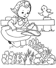 drawing of girl gardening, by Mary Alice Stoddard