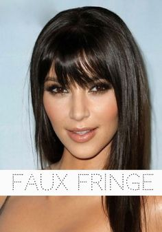 Every girl who's ever got a fringe cut and spent the next few years growing it out will appreciate a faux fringe! Love the colour of Kim Kardashians hair here too.