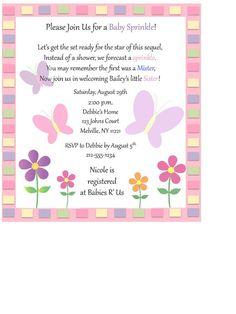 Custom, Baby Sprinkle Invitations, Butterflies, Baby Girl, Baby Shower, Sprinkle