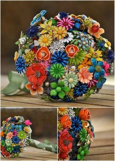 Perfect broach bouquet!!!! ;) so colorful and vibrant! Oranges, blues, greens and just enough white to add contrast
