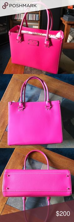 Authentic Kate Spade Bright Pink Quinn Handbag Authentic Kate Spade Bright Pink Quinn Handbag.  Boarskin embossed cowhide with natural cowhide trim.  Gold tone hardware.  Dimensions:  9.5 inches tall X 11.5 inches wide X 4.5 inches deep.  Open top with center zip divider pocket.  Double slide interior pockets.  One interior side zip pocket.  Only used twice.  Comes with authentic Kate Spade dust bag. kate spade Bags Satchels
