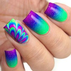 99 Gorgeous Water Marble Nail Art Designs Ideas Youll Want To Try This Season Water marbling is becoming a hot trend these days in the world of nail art. Simple Nail Art Designs, Cute Nail Designs, Rainbow Nail Art Designs, Bright Nail Designs, Fingernail Designs, Creative Nail Designs, Fabulous Nails, Gorgeous Nails, Diy Nails